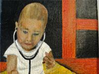 Karst op consultatieburo opa, 2008 (olieverf, 13 x 18 cm)