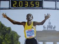 Haile Gebreselassie, World Record Marathon, 2008 (olie, 40 x 30 cm)